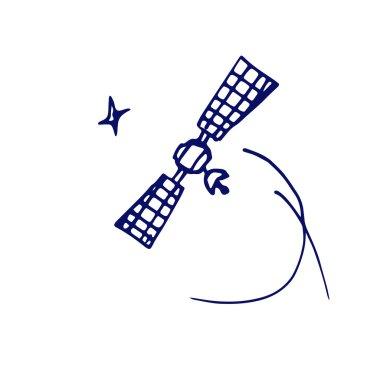 Image space satellite in orbit sketch stars. Doodle style clip art vector