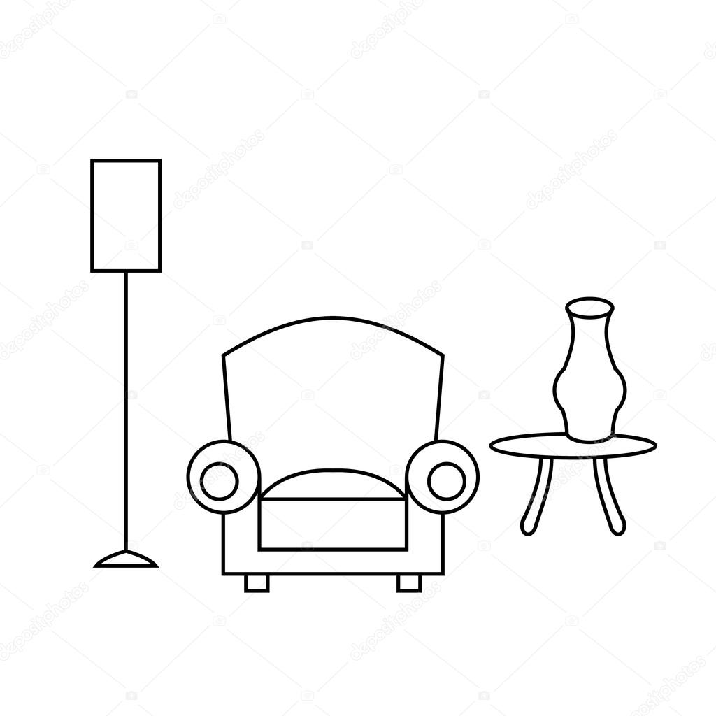 Living room interior design with outline stock vector for Living room outline