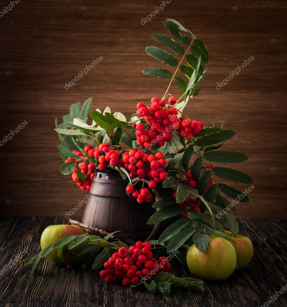 Painting. Still life with vase, flowers, fruit, rowan on wood background. It can be used to create packages, gift cards and design