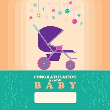 Baby New Born Greeting Card Stroller