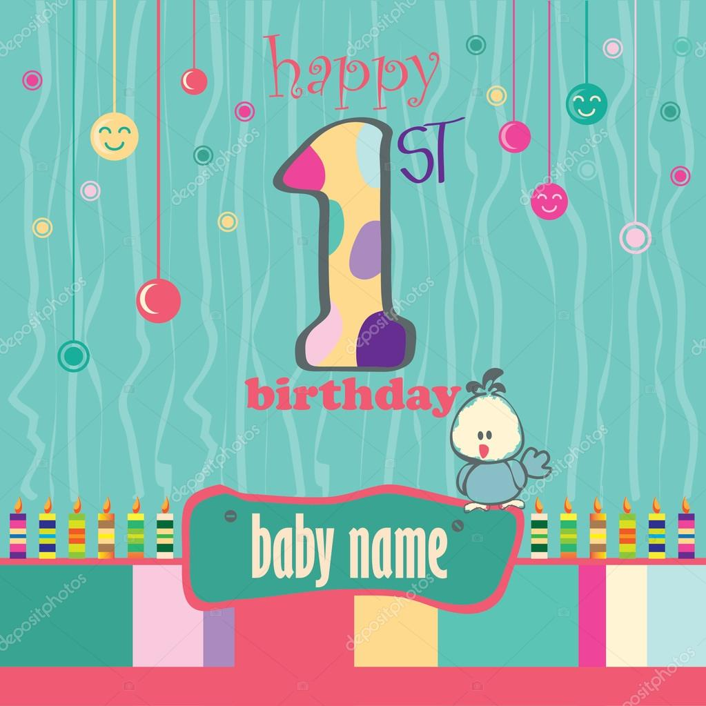 1st birthday greeting card stock vector angsabiru 77546718 1st birthday greeting card stock vector kristyandbryce Image collections