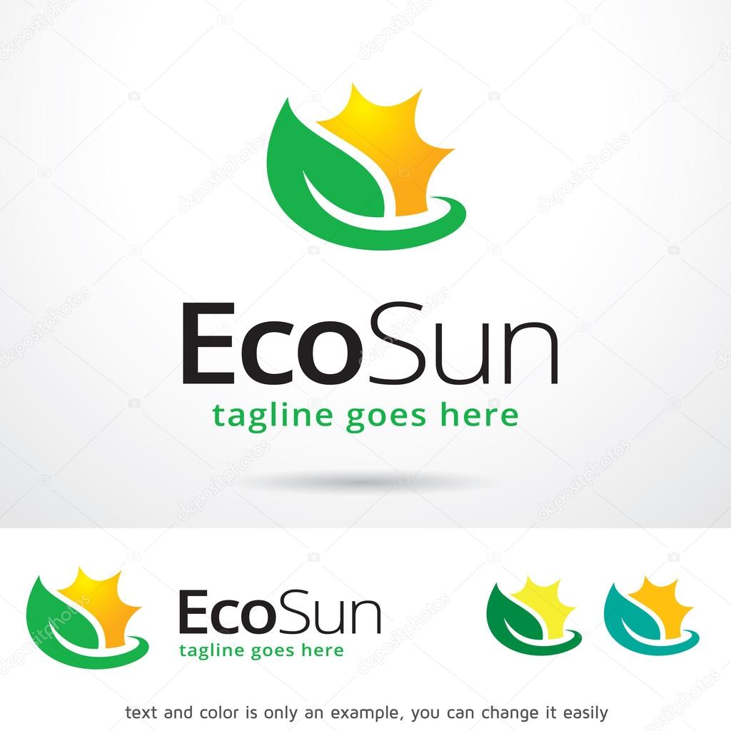 Eco Sun Logo Template Design Vector