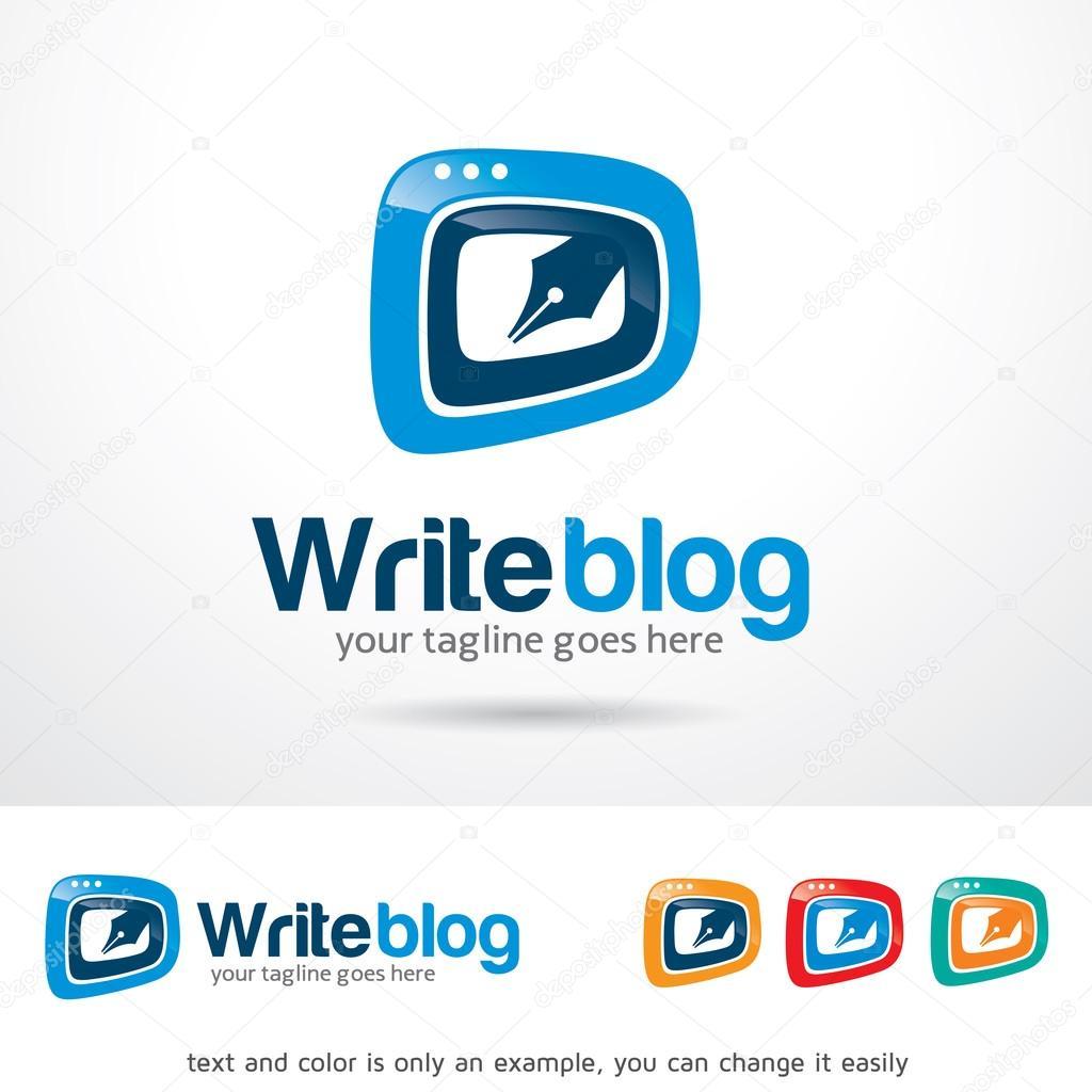 Escribir Blog Logo plantilla diseño Vector — Vector de stock ...