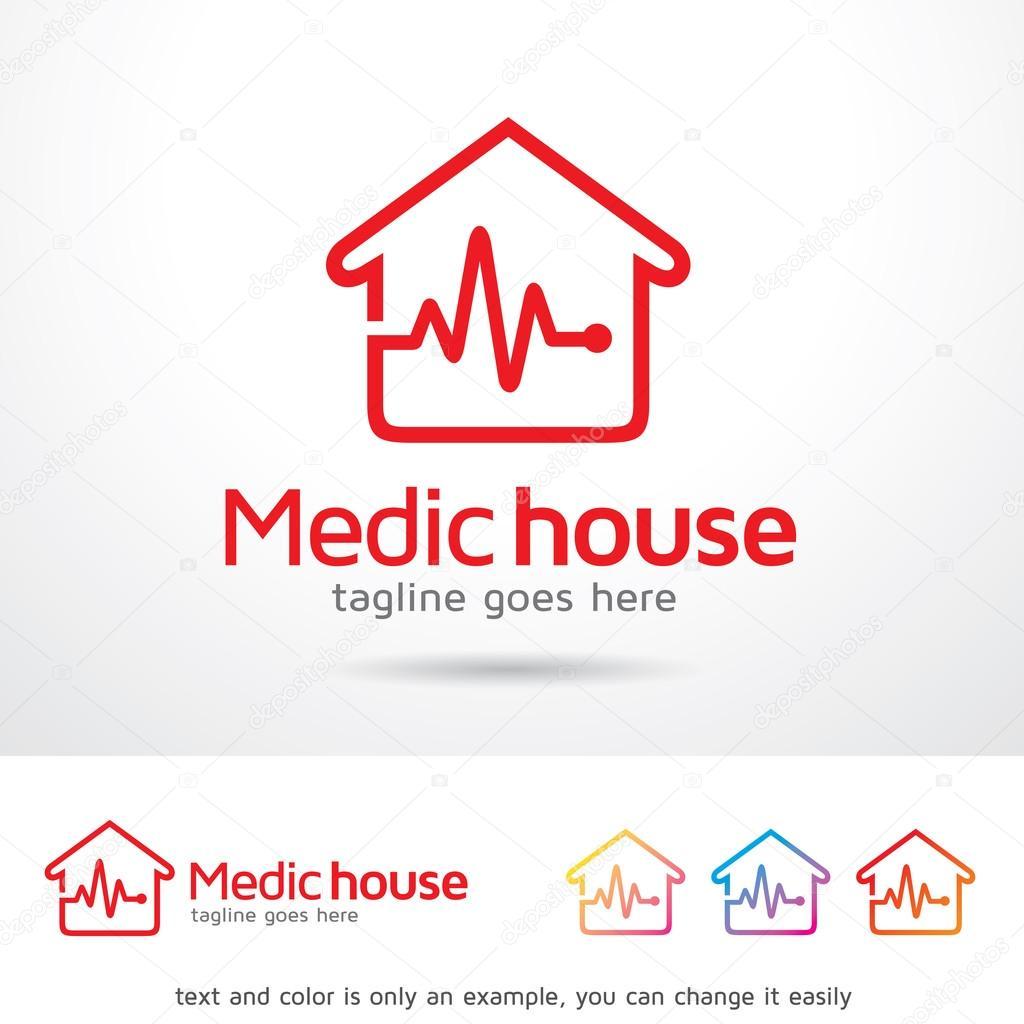 medic house logo template design vector stock vector
