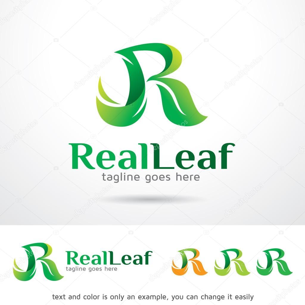 Hoja real letra R Logo plantilla diseño Vector — Vector de stock ...