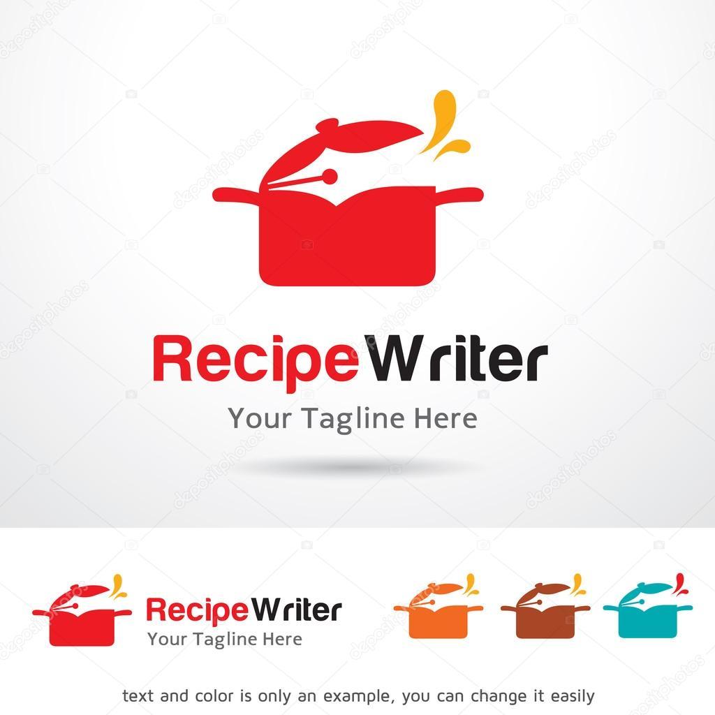 recipe writer logo template design vector stock vector