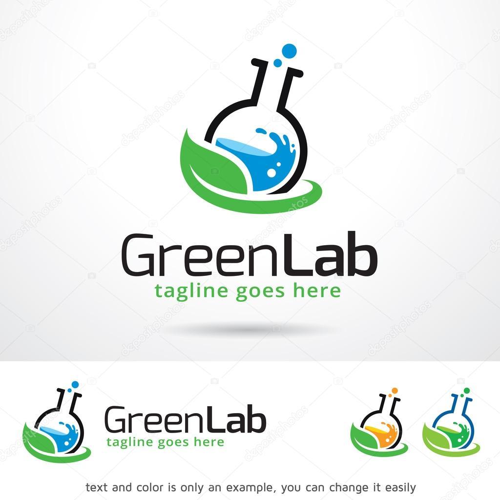 Laboratorio verde logotipo plantilla diseño Vector — Archivo ...
