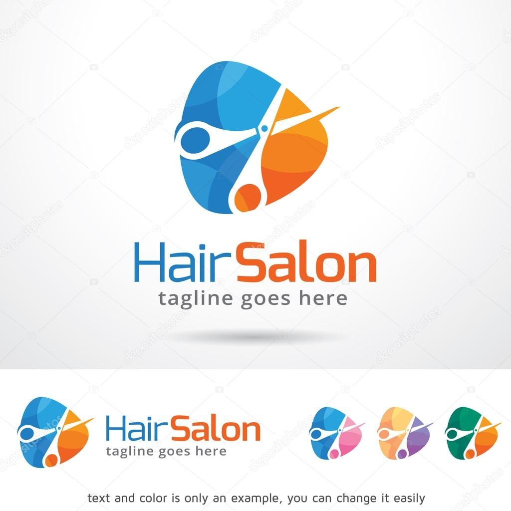 hair salon logo template design vector ストックベクター