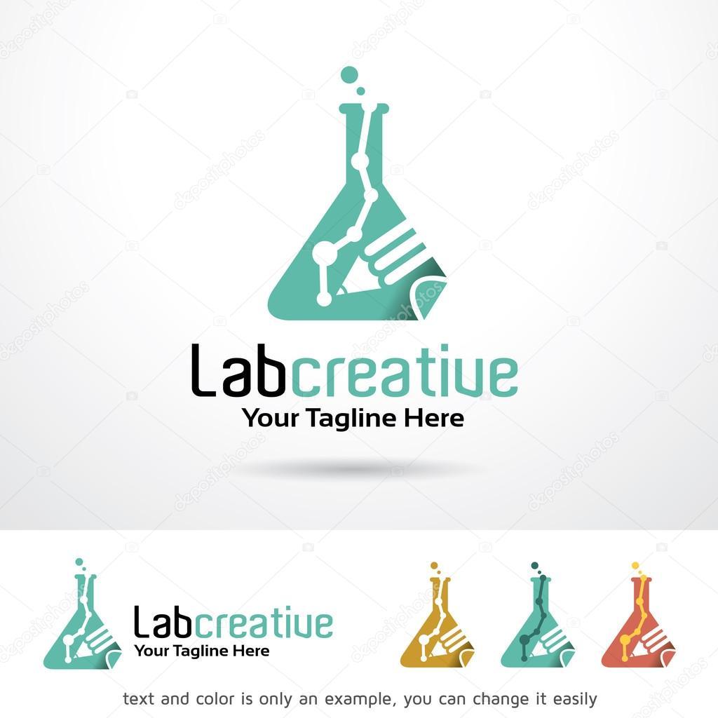 Laboratorio creativo Logo plantilla diseño Vector — Archivo Imágenes ...