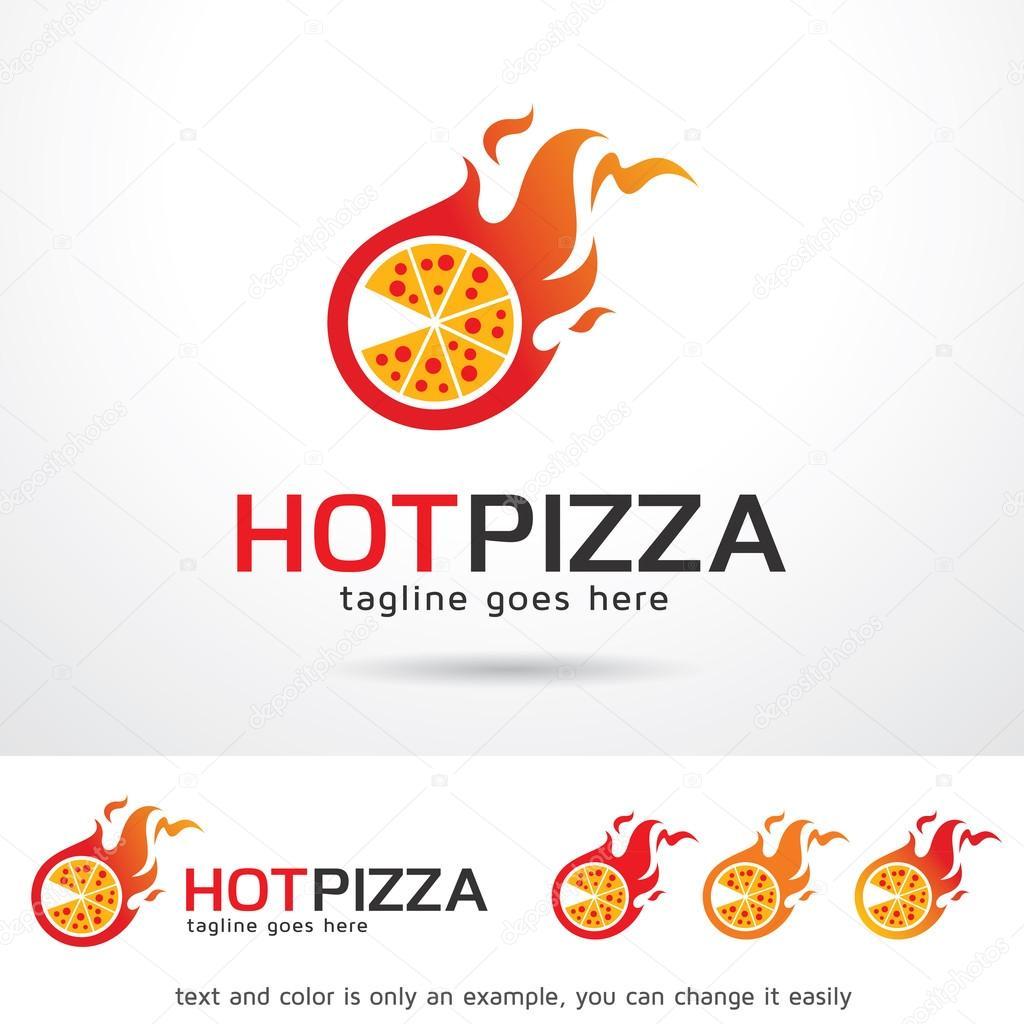 Pizza caliente logotipo plantilla diseño Vector — Vector de stock ...