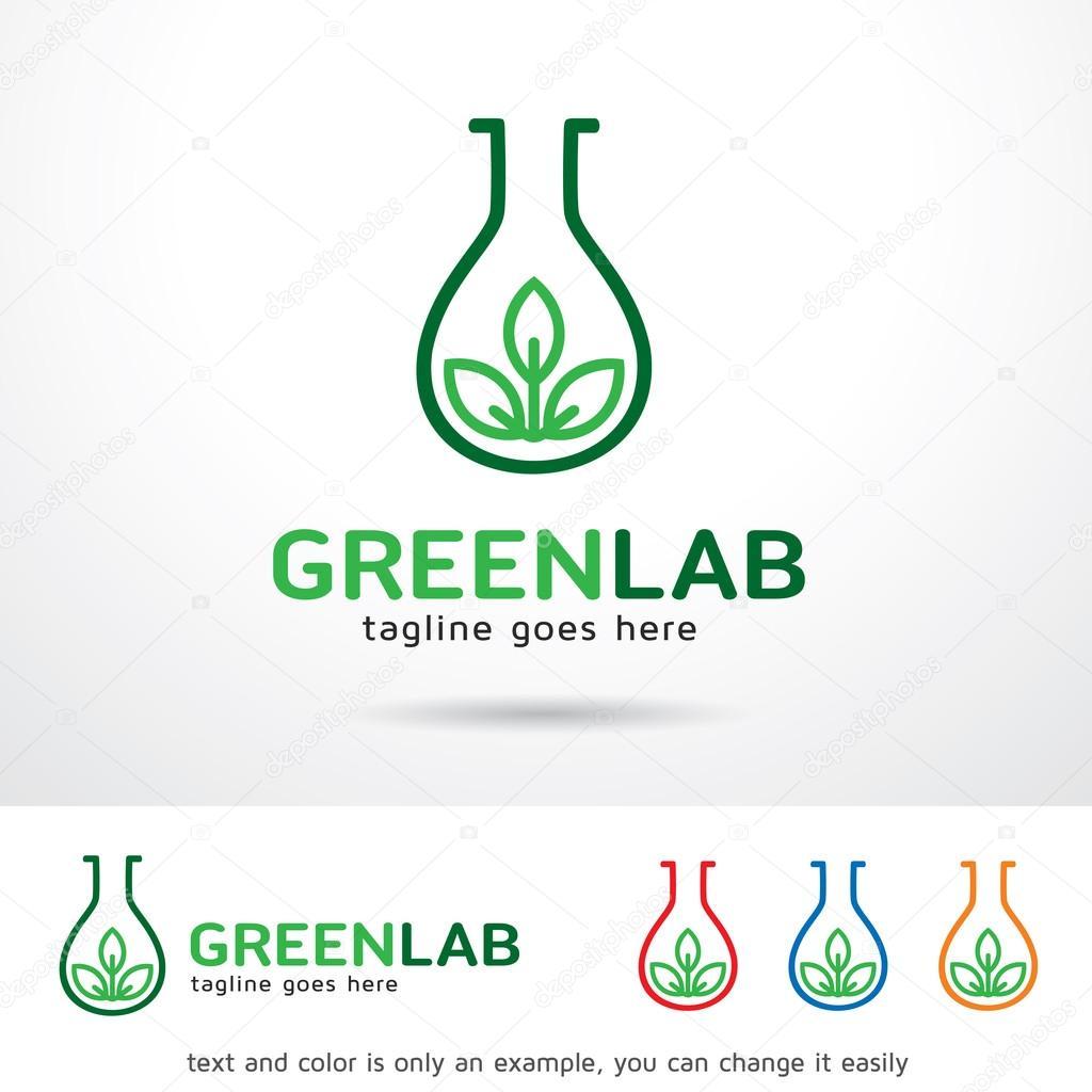 Hoja verde laboratorio Logo plantilla diseño Vector — Archivo ...