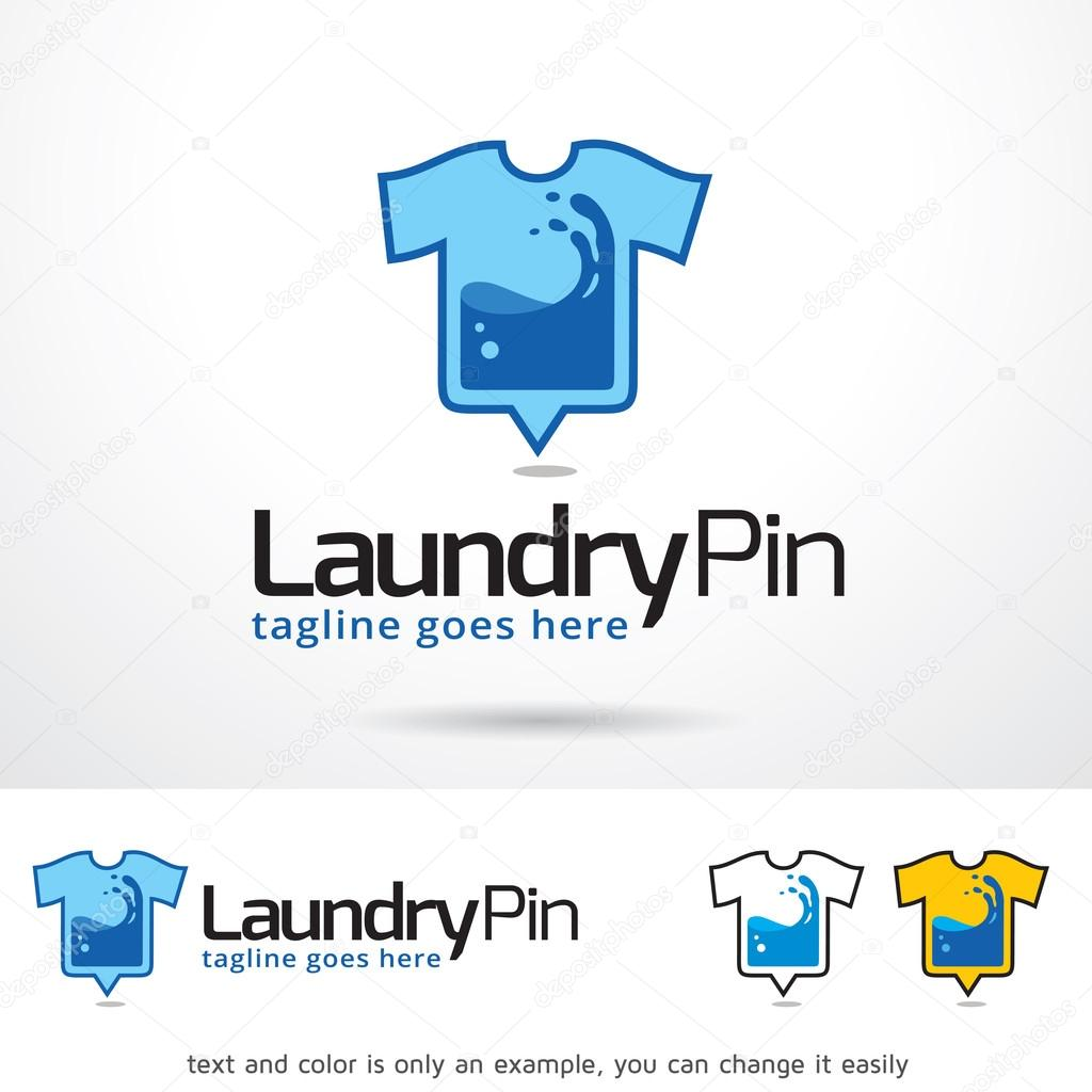 Ropa Pin Logo plantilla diseño Vector — Archivo Imágenes Vectoriales ...