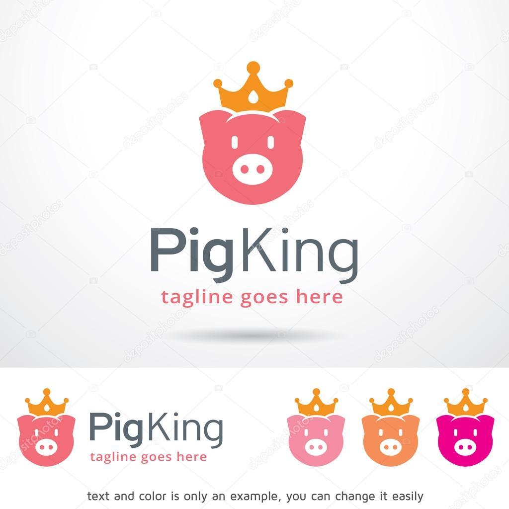 Cerdo rey Logo plantilla diseño Vector — Archivo Imágenes ...