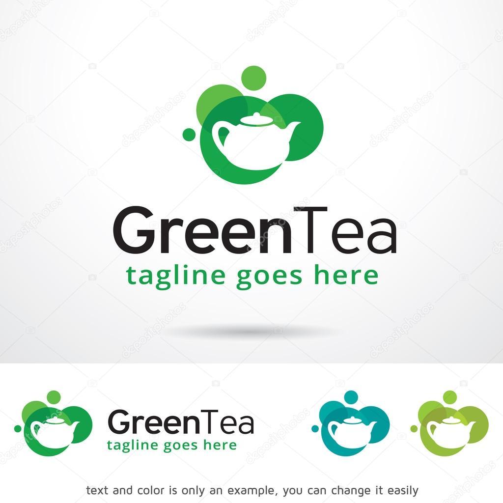 green tea logo template design ストックベクター gunaonedesign