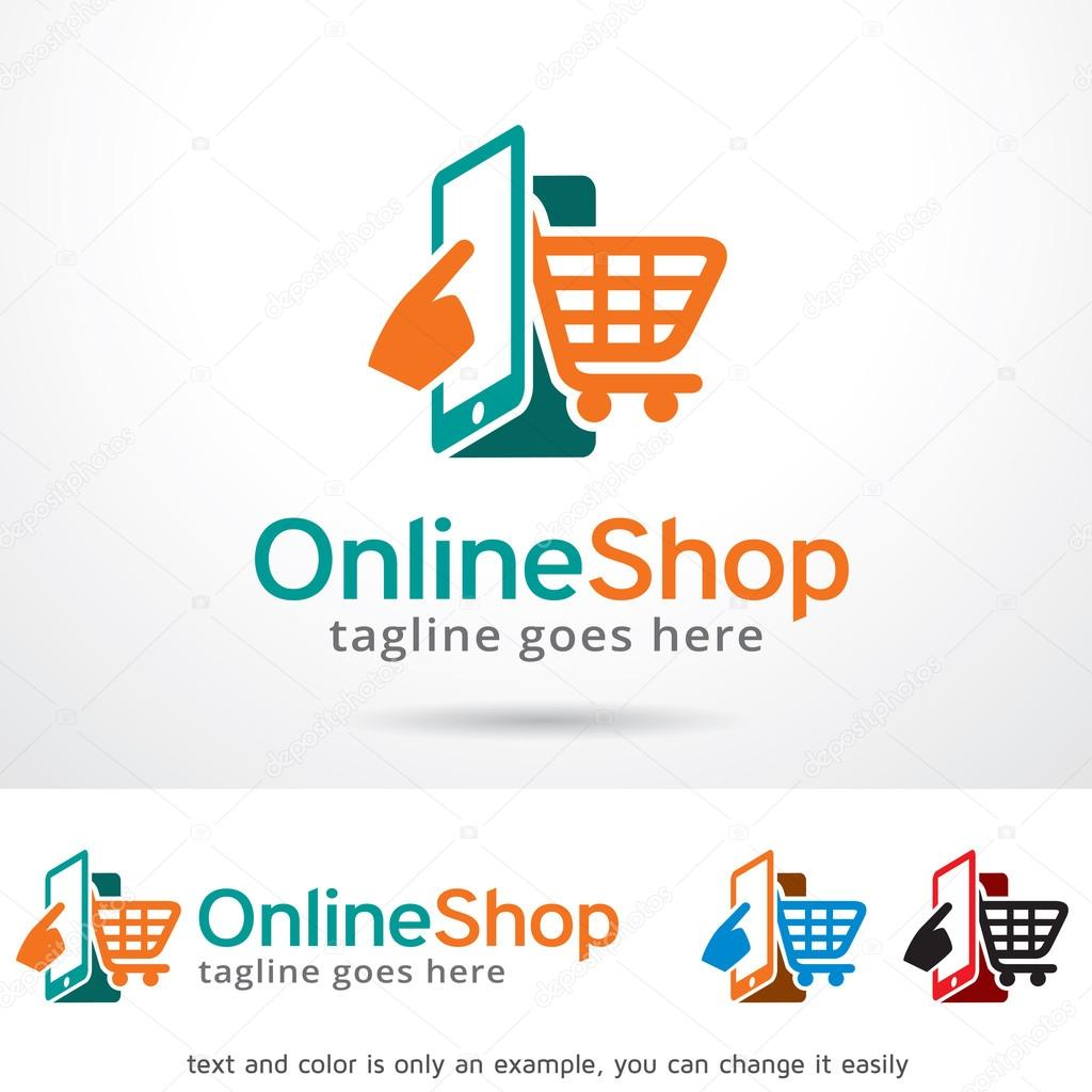 Online shop logo template design stock vector for Design online shop