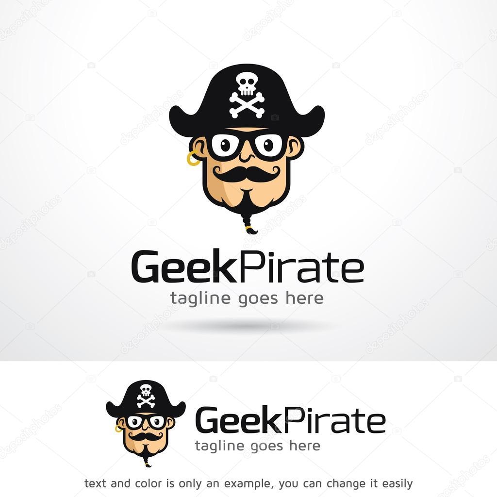 Geek pirata Logo plantilla diseño Vector — Archivo Imágenes ...