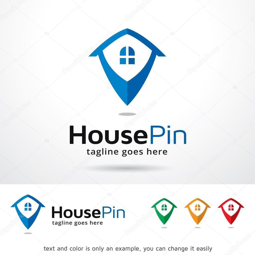 ピンのロゴのテンプレート デザインのベクトルを家 ストックベクター