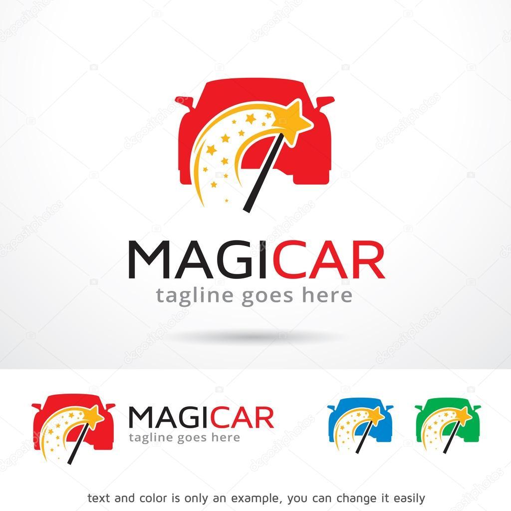 Coche mágico Logo plantilla diseño Vector — Vector de stock ...