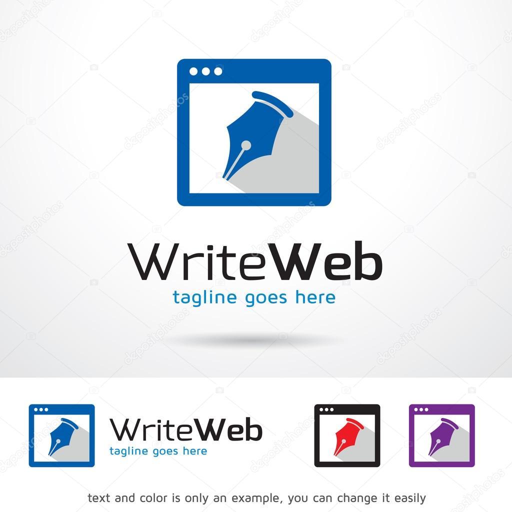 Escribir página web logotipo plantilla diseño Vector — Archivo ...