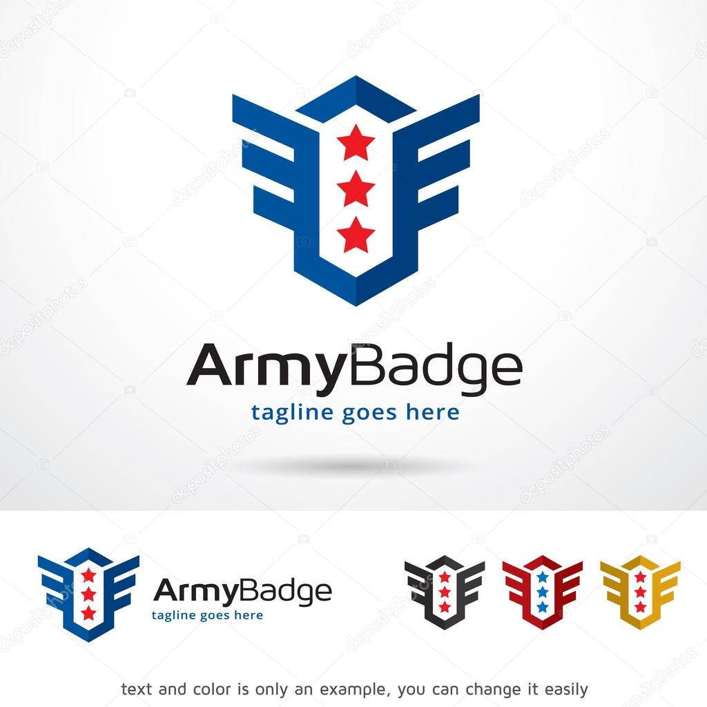 army badge logo template design vector ストックベクター