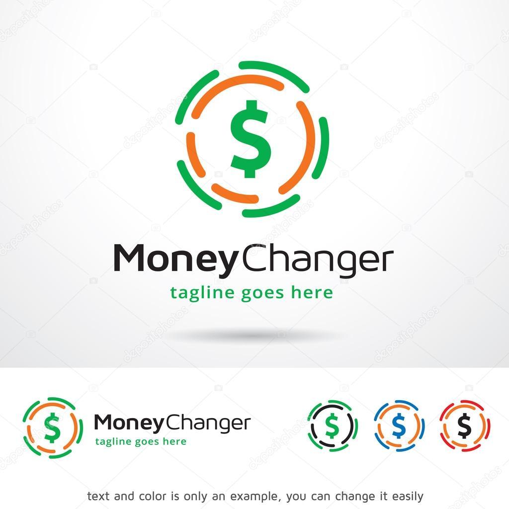 money changer circle logo template design vector ストックベクター