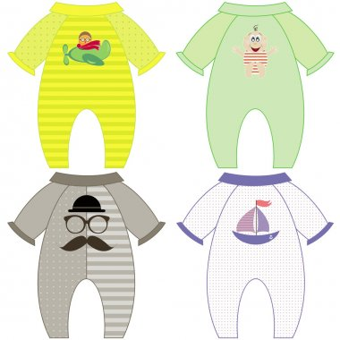 set of baby overalls for a boy vector