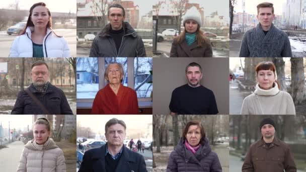Verschiedene Menschen in Schutzmasken. Collage von zwölf Personen unterschiedlichen Geschlechts und Alters. Sie setzen gleichzeitig medizinische Schutzmasken über ihr Gesicht.