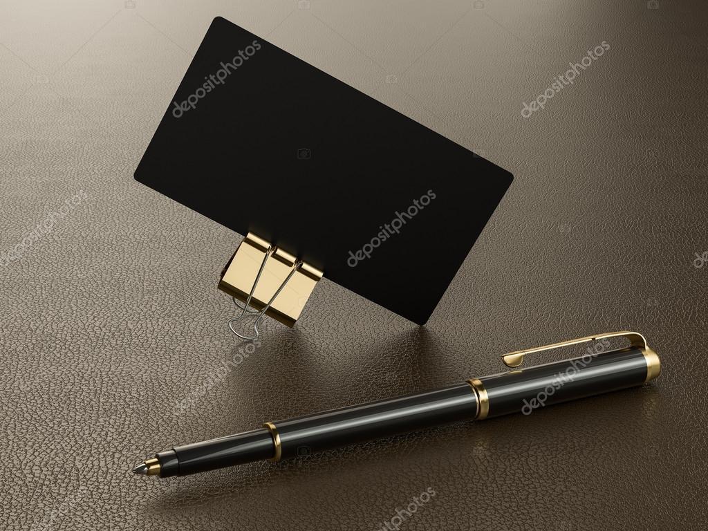 Schwarze Visitenkarten Leere Mockup Auf Leder Hintergrund