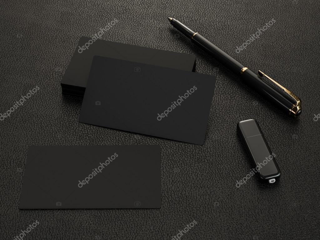 Cartes De Visite Noir Blanc Maquette Sur Fond Cuir Haute Resolution Image