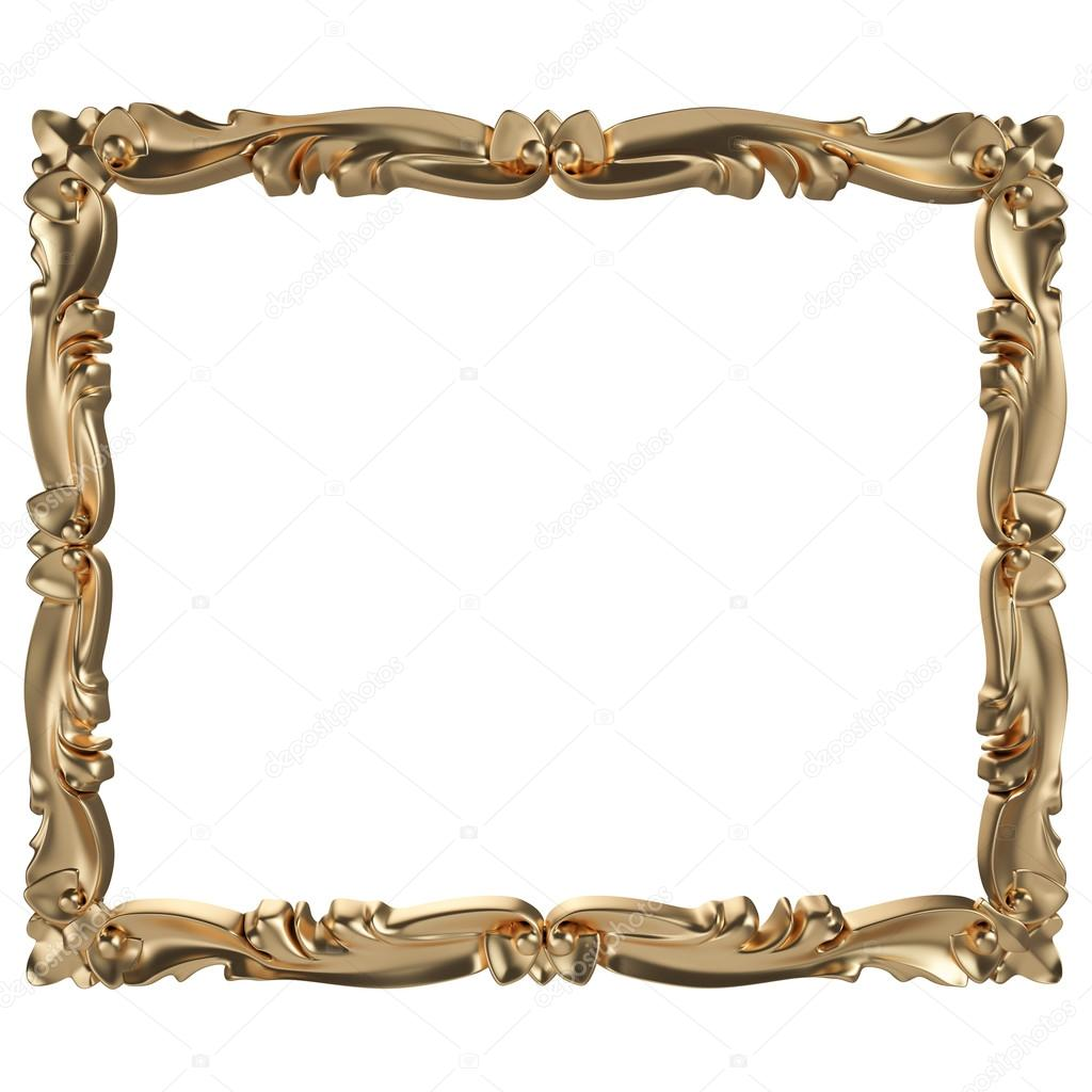 Gold frame. Isolated over white background — Stock Photo © vasssaa ...