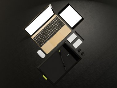 Designer accessories and gadgets on black leather background