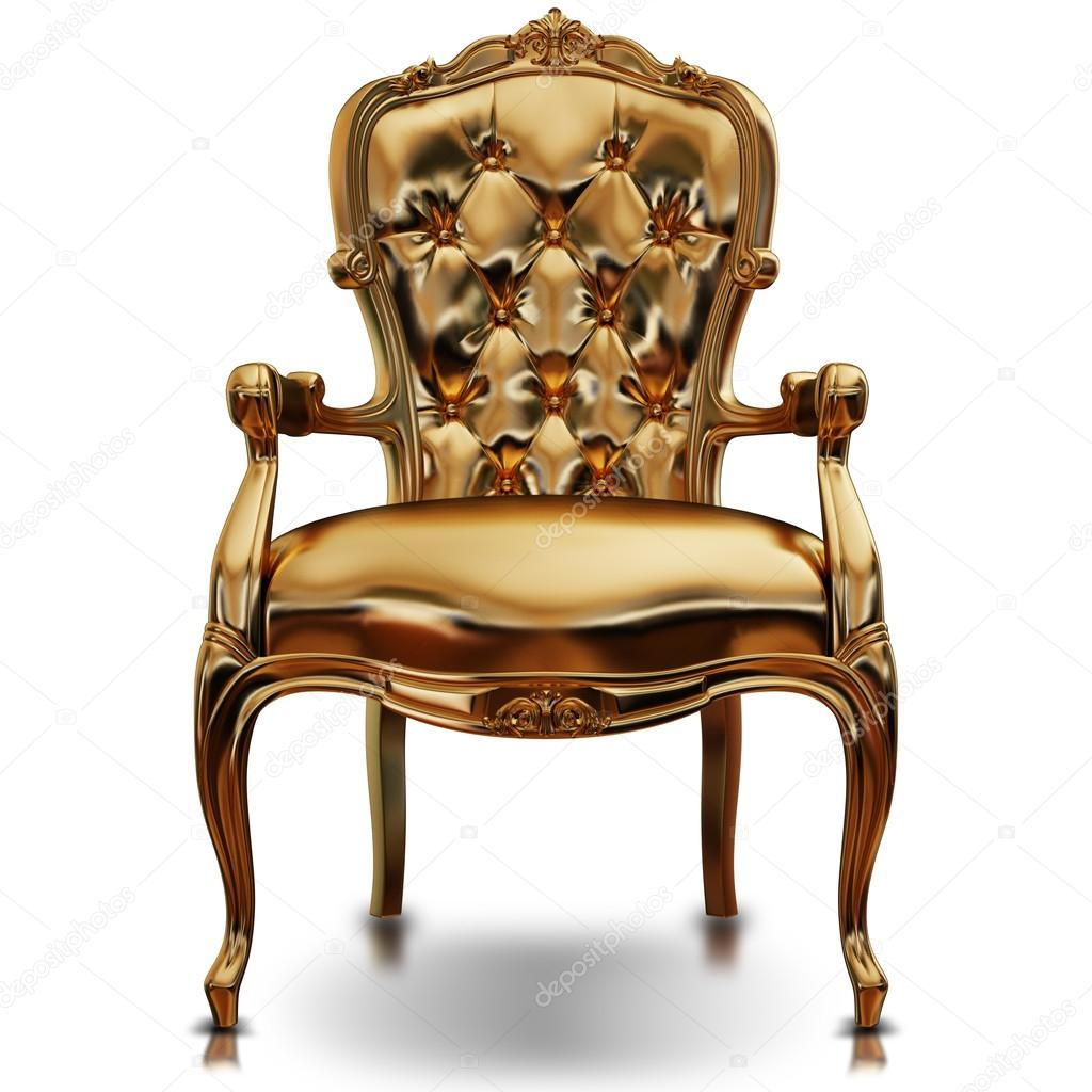 Illustration Of A Golden Chair. Isolated U2014 Stock Photo