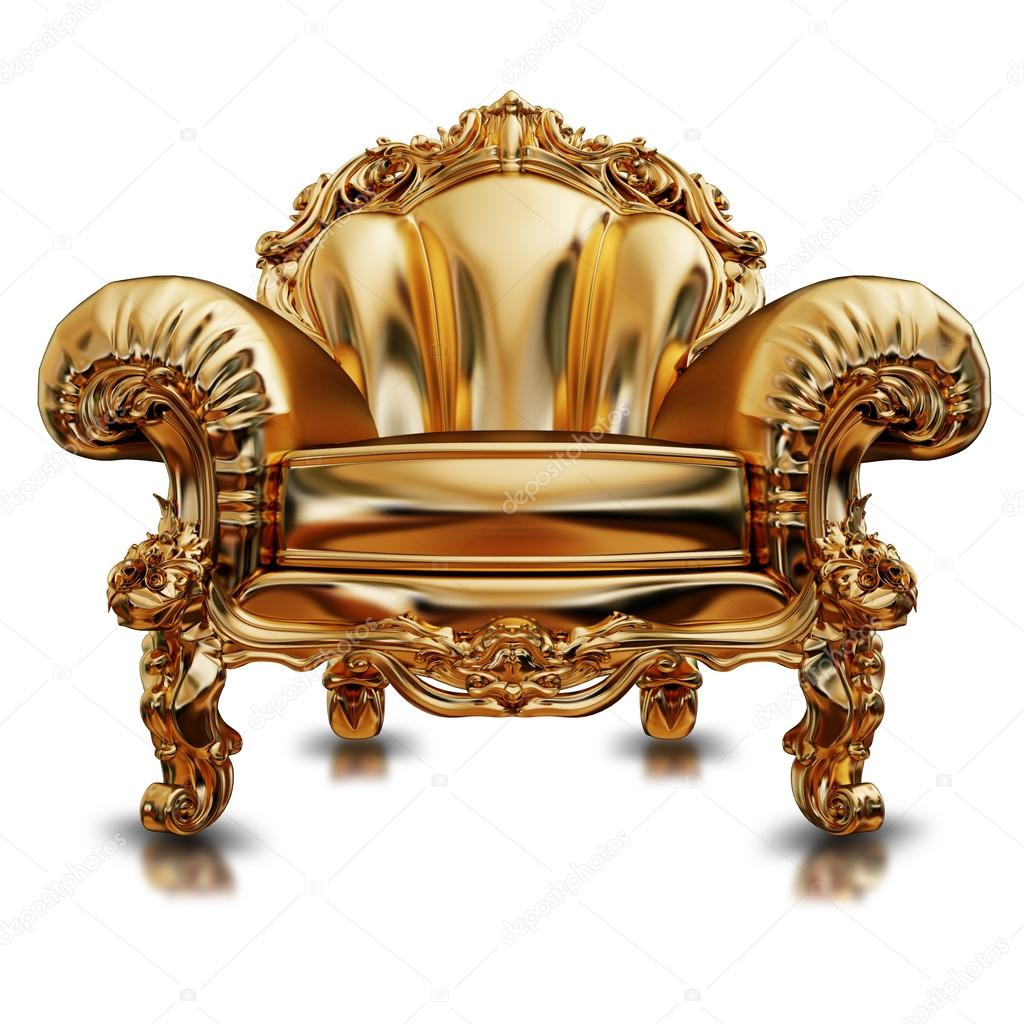 Bon Illustration Of A Golden Chair. Isolated U2014 Stock Photo