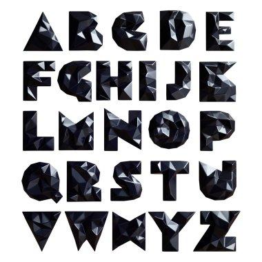3d set geometric shapes alphabet letters
