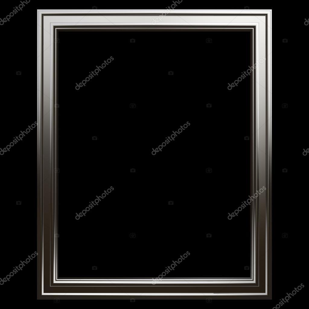 Conjunto de marco de cromo. Aislado sobre fondo negro — Fotos de ...
