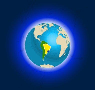 Globe in space, views of Brazil