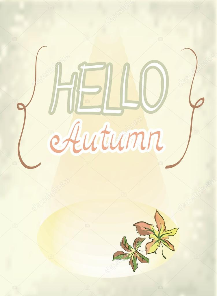 Autumn blurred background with maple leaves, vector illustration