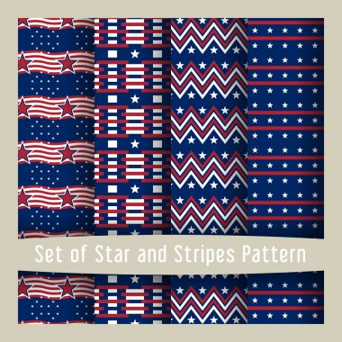 Set of star & striped patterns American Flag style