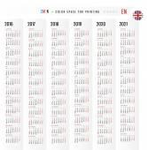 Calendario 2016 2017 2018 2019 2020 2021 vector Set in inglese. Abbiamo
