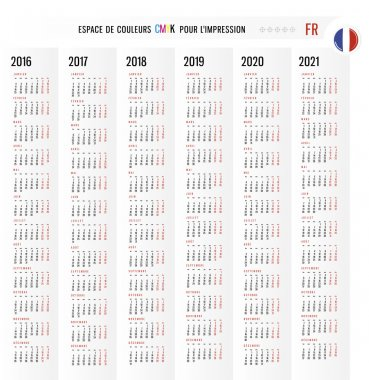 Calendar 2016 2017 2018 2019 2020 2021 vector Set in French. Wee