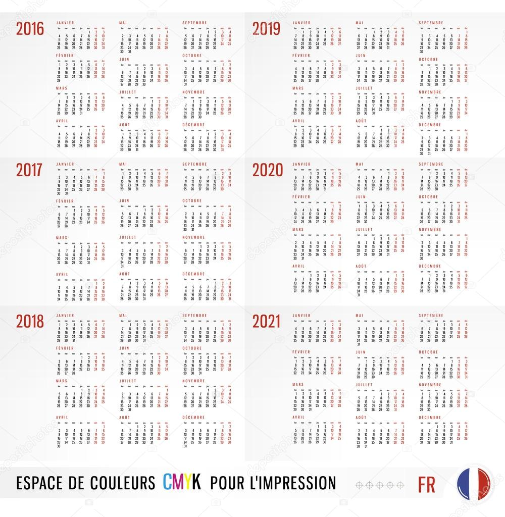calendar 2016 2017 2018 2019 2020 2021 vector set in french wee stock vector