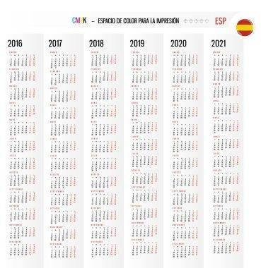 Calendar Set in Spanish vector Set week starts monday