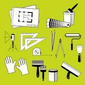 Fotografia Set di strumenti di elementi vettoriali per la riparazione della casa e appartamenti