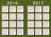 Kalender 2016 Vektor Set Woche beginnt Montag