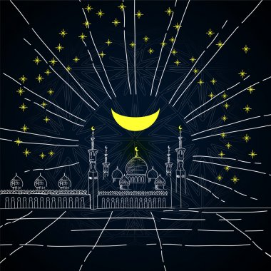 Silhouette of mosque with minarets