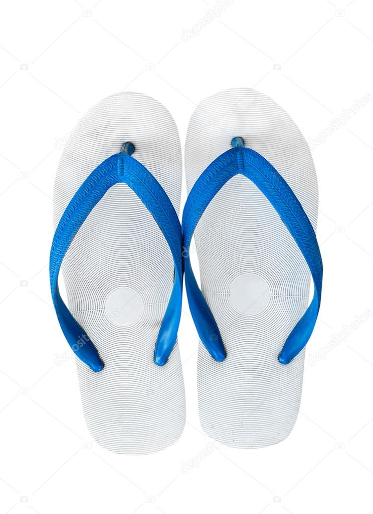 42b16d0dfd84 Pair of blue flip flops. Isolated on white background with copy — Stock  Photo