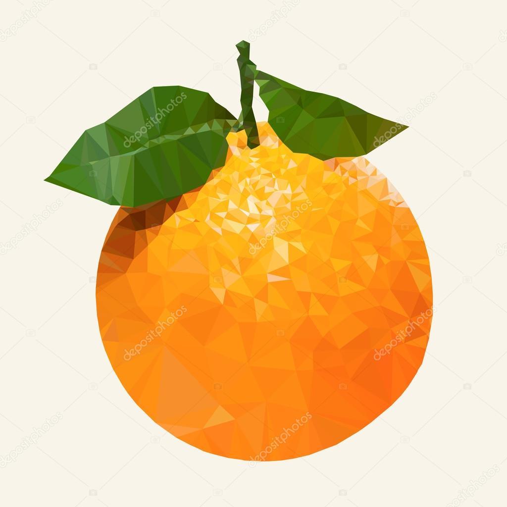 Abstract Orange Origami Style Low Poly Orange Fruit Stock
