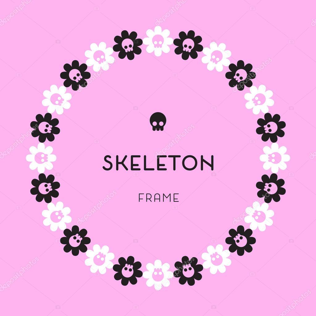 Cráneo y huesos rosa marco — Archivo Imágenes Vectoriales ...