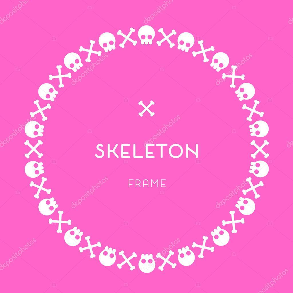Cráneo y huesos rosa marco — Vector de stock © LetsPlayArts #77572030