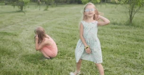 Kleine Mädchen spielen mit Hund im Park und haben Spaß mit niedlichen Haustieren